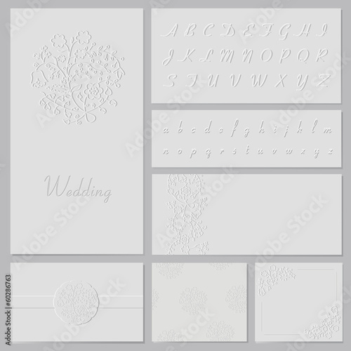 Vector embossed wedding set
