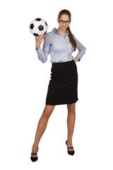Stylish woman with a soccer Ball