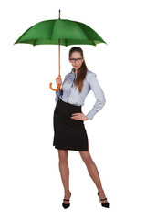 Beautiful woman standing under a big green umbrella