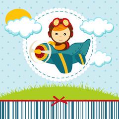 baby boy pilot - vector illustration