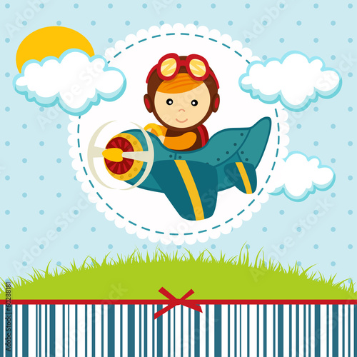 baby boy pilot - vector illustration