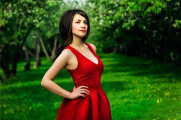 model girl in red dress