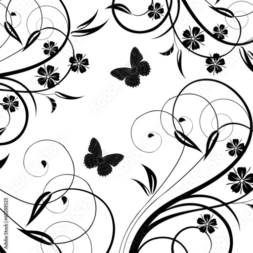 Background with butterfly on a white background..