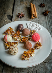 chocolate candies with turron pieces