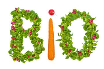 Das Wort Bio aus Salat und Gemüse