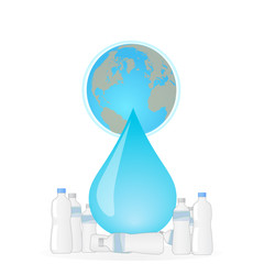 Recycle the plastic bottles to save the planet earth concept