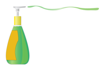 Dispenser pump  green bottle of liquid soap