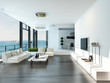 Leinwanddruck Bild - Luxury living room interior with white couch and seascape view