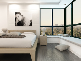 Luxury white bedroom interior with portrait of a woman