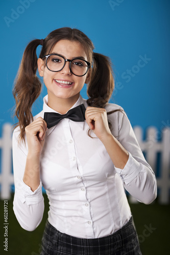 Portrait of elegant nerdy woman