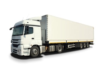 Isolated white cargo truck