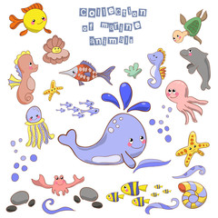 Collection of marine animals and fish. Octopus, whales, fish,