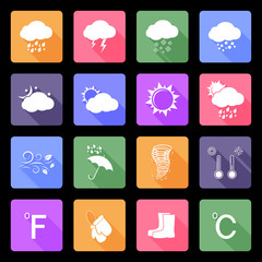 Weather vector flat icons set