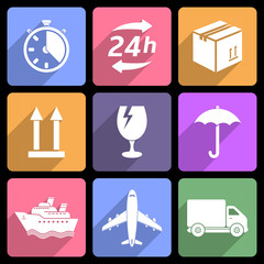 Shipping and delivery flat icons