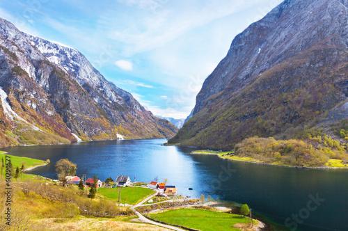 Naeroyfjord - fjord landscape in Sogn og Fjordane region. - 60290577
