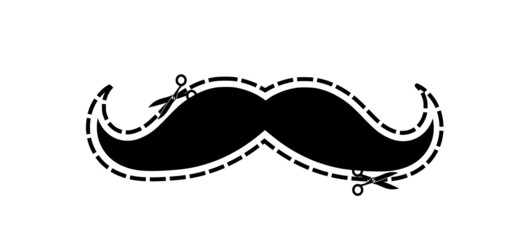 gentleman's mustache with dotted frame and scissors VECTOR