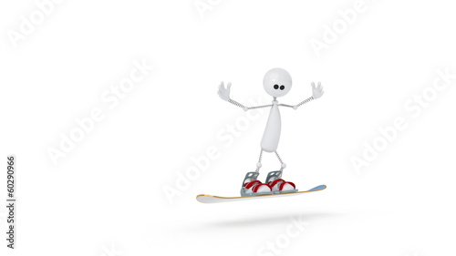 The 3D person on a snowboard