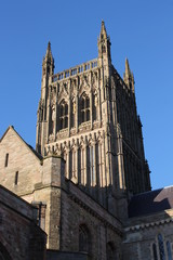 Worcester Cathedral tower and south transept gable