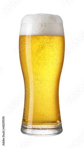 Glass of light beer isolated on a white background