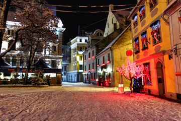 Christmas night in Old Riga in Latvia