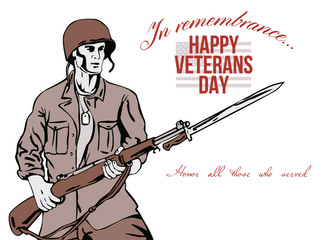 Veterans Day Greeting Card American Soldier