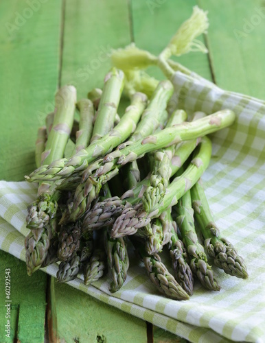 bunch of fresh organic green asparagus