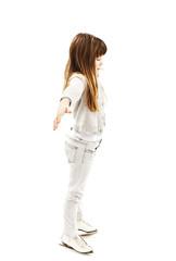 Little girl learning to skate on white background