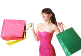 happy smiling woman with shopping bags, isolated over white