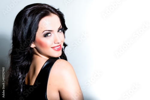 canvas print picture schöne frau Sexy Beauty Girl with Red Lips