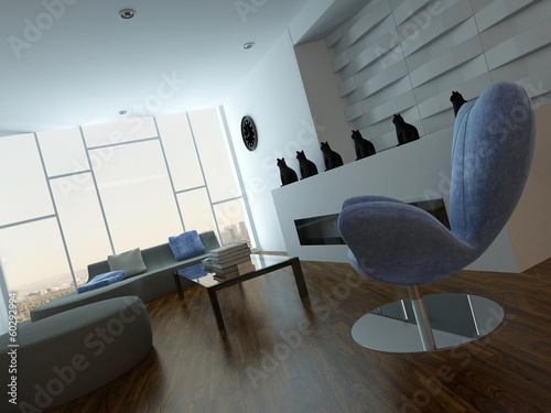 Modern lounge interior with blue armchair and cat vases