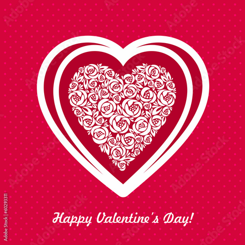 Valentine day floral heart background
