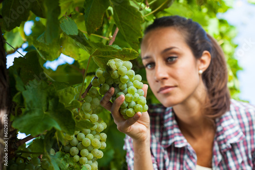 Young woman looking at a bunch of grapes