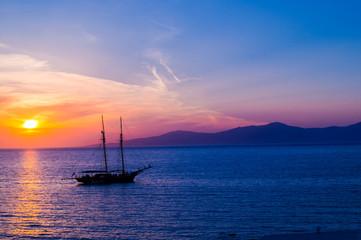 Sunset at famous Santorini island, Greece