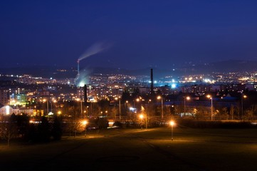 Lights of industrial town at night scenery