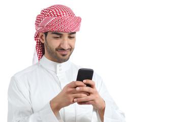 Arab saudi man watching social media in the smart phone