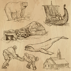 SCANDINAVIA set no.2 - Collection of hand drawn illustrations