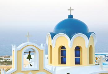 Traditional blue cupola in Santorini