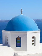 Traditional blue cupola in Oia, Santorini