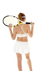 Female tennis player holding racket, isolated on white backgroun