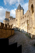 Sight of towers at Carcassonne castle medieval city