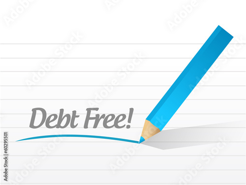 debt free message illustration design