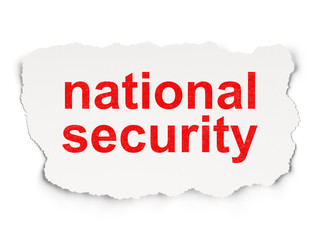 Safety concept: National Security on Paper background