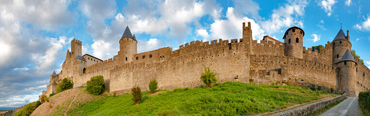 Panoramic view of Carcassonne medieval city walls at late aftern