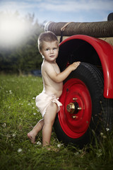 Perfect poses of young fireman