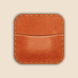 Natural Leather Pocket Or Wallet. App Icon Template. Vector
