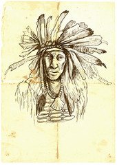 Indian (Chief), portrait. Hand drawn illustration.