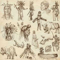 INDIANS and Wild West. Collection of hand drawn illustrations