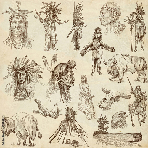 INDIANS and Wild West. Collection of hand drawn illustrations - 60296784