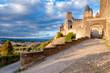 La Porte De Aude entrance at late afternoon at Carcassonne