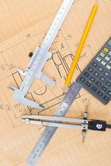 Mechanical circuit, a ruler, compass, calipers.